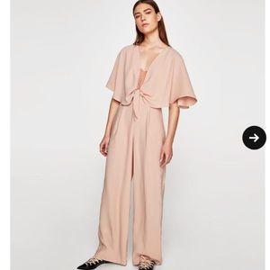 Zara nude pink jumpsuit